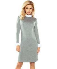 06fb3996ea77 Numoco Sivé biznis šaty s bielym golierom 167-1