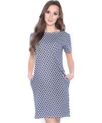 f17c49e13e83 OXYD Tmavo modré vzorované šaty s vreckami OX3385