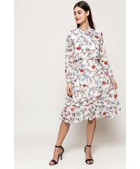 Rouzit Biele midi šaty s kvetinovým vzorom a golierom 492d04ccb5e