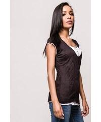 1c7af65c6e68 Rouzit Čierne dámske tričko s nariaseným výstrihom - Glami.sk