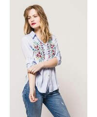 47e97f64002d Rouzit Dámska asymetrická modrá košeľa s kvetinovým vzorom