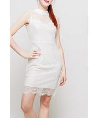 Rouzit Dámske biele úzke šaty s krajkou fcf4485156