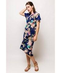 d3e871056af8 Rouzit Tmavomodré midi šaty s kvetinovým vzorom