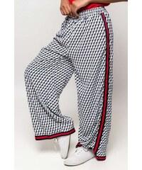 Rouzit Modré vzorované dámske nohavice s pásikom 3f4bc72a07a