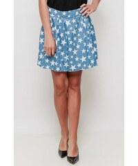 07e5460308f9 Rouzit Svetlomodrá krátka sukňa s potlačou bielych hviezdičiek