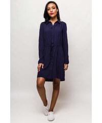 Rouzit Tmavomodré košeľové šaty s dlhým rukávom 54260c8252e