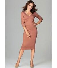 LENITIF Elegantní pouzdrové šaty K476 Brown 60ad4e2a40