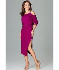bae7994008f5 LENITIF Pôvabné šaty s výrezky na ramenách K479 Fuchsia