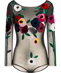 f758616f9e1c Alexia Hentsch floral applique round neck bodysuit - Black