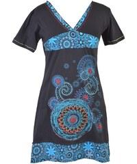 da21c081d35 Černo-modré šaty s krátkým rukávem a potiskem mandal