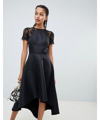 Chi Chi London high low hem midi dress with lace sleeves in black - Black 88595e3c18