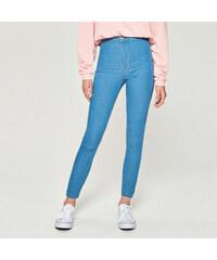Sinsay - Džíny skinny high waist - Modrá 97112e436a