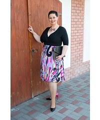 5c2dde1ade4 Krátké šaty Tiana Bellazu s barevnou geometrickou sukní a 3 4 rukávem černé