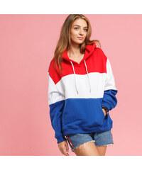 Urban Classics Ladies Oversize 3-Tone Hoody červená   bílá   tmavě modrá d7d935a091