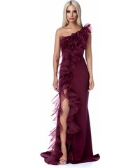 Burgundy StarShinerS alkalmi ruha szűk szabás finom tapintású anyag fodros  hosszú 509464c85f