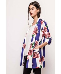 01739156d369 Rouzit Modro-biele dámske sako s kvetinovou potlačou