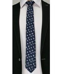 20fdd24e351 Tmavě modrá pánská elegantní kravata s květy