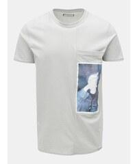 Sivé tričko s potlačou a náprsným vreckom Shine Original 354554e7eb7