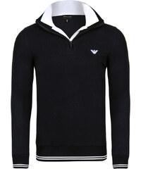 Černý luxusní svetr na zip od Emporio Armani 3648b50953