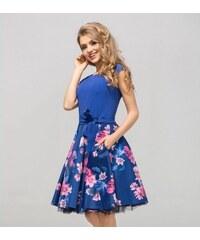 e99595d88632 Šaty FLORENCE modré s květy Gotta GS15