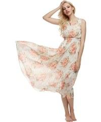 LM moda A Dlouhé letní šaty bílé s květy 3908 3267fb59ec