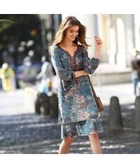 Blancheporte Šaty s patchwork potiskem hnědošedá modrá 5f65bf1d3d