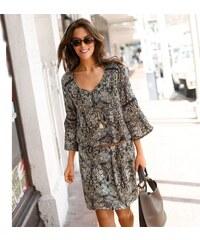 Blancheporte Šaty s potiskem a pagodovými rukávy khaki medová 7f3edbd6972