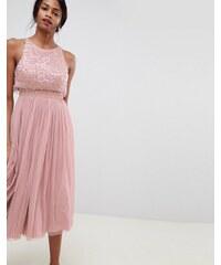 ASOS DESIGN embellished droplet midi dress - Mink 7d54d13fef