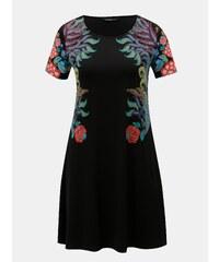 Čierne šaty s potlačou a krátkym rukávom Desigual Mara 4f78014482d