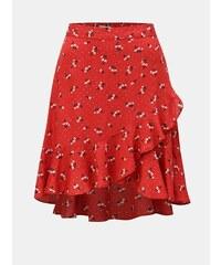 5f186a0b09d1 Červená květovaná sukně s volánem Blendshe Trudie