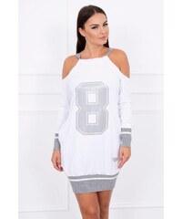 d3996f841fe7 MladaModa Šaty s číslom 8 biele+šedé