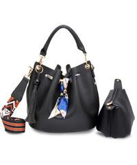 8597a49b86f L S Fashion Kabelka Black Drawstring Bucket Bag With Pouch AG00615 BLACK