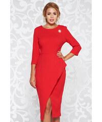 Piros StarShinerS elegáns ceruza ruha rugalmas anyag derekán fodros bross  kiegészítővel 69486799da