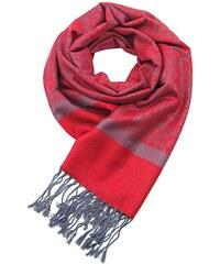 Kašmírová elegantní šála šedo-červená b04de7f381