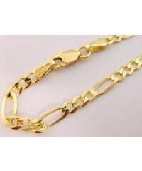 53a268997 Pretis Pánský mohutný plný zlatý náramek FIGARO 22cm šíře 3mm 585/2,87gr  3640123