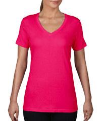 28ca9e006b85 Ružové Dámske tričká s výstrihom do V
