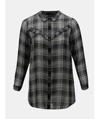 99341fd2c702 Čierna kockovaná košeľa s volánmi Zizzi Caprice