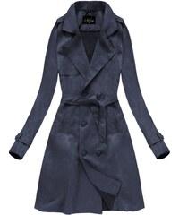 d44cee607d90 Libland Tmavě modrý dvouřadový semišový kabát (6003)