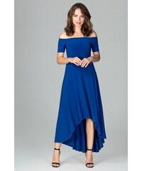 Lenitif Kráľovsky modré elegantné spoločenské asymetrické MAXI šaty K485 dd59766d641