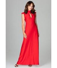 bcc5adf96883 Lenitif Červené elegantné spoločenské MAXI šaty so slzovým výstrihom K486