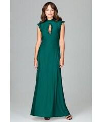 fa913a10a2b6 Lenitif Zelené spoločenské MAXI šaty so slzovým výstrihom K486