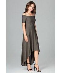 5768d06173e2 Lenitif Olivovozelené elegantné spoločenské asymetrické MAXI šaty K485