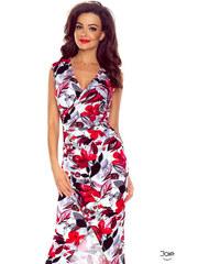 6c58bbcc52ef Bergamo Dlhé puzdrové letné šaty s červenými kvetmi 108-01