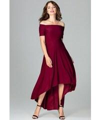 LENITIF Spoločenské šaty odhaľujúce ramená K485 Deep Red 7a42d8ffe54