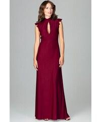 LENITIF Dlhé šaty s volánovými rukávmi K486 Deep Red 46647bb6ad8
