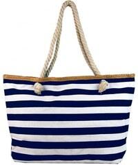 9be253fede NEW BERRY Velká modro-bílá lehká plážová taška přes rameno H-106-3