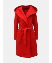Červený kabát s kapucňou a zaväzovaním ONLY Riley c8686fb5709
