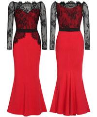 LM moda A Luxusní červené šaty s krajkou 0012 dc22f717232
