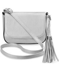 cab86dac72b World-Style.cz Elegantní listonoška s klapkou dámská kabelka s přívěšky  střapce – stříbrná