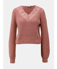 Vínový sveter s véčkovým výstrihom a voľnými rukávmi Miss Selfridge ... afa312577d2